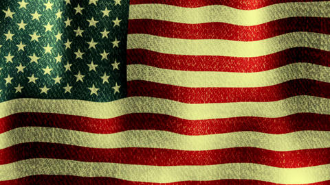 USA Flag Waving (Seamless Lopping Video, Realistic, Fabric) CG動画素材