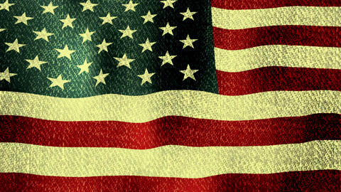 USA Flag Waving (Seamless Lopping Video, Realistic, Fabric), Short CG動画素材