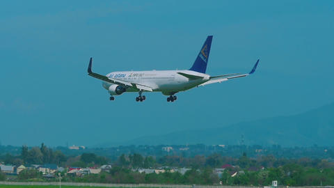 Air Astana Boeing 767 approaching before landing Footage
