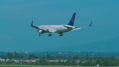 Air Astana Boeing 767 approaching before landing Footage