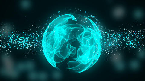 Wave Particles with glowing sphere. Seamless loop Animation