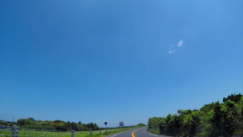 Comfortable to drive on the road blue sky/千葉、東金九十九里有料道 ライブ動画