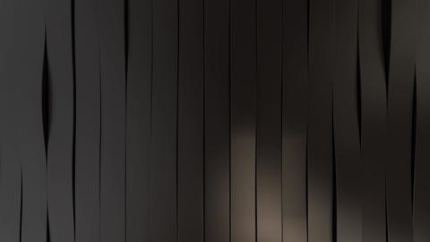 Loop background with waves black stripes, 3d render Animation