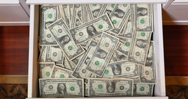 Draw Full of Hidden US Dollar Bills Money Footage