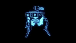 Robot Wireframe Hologram in Motion. Nice 3D Rendering Animation