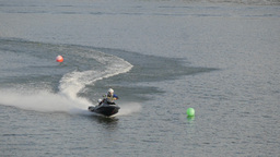 Jet Ski Speeding On Water Track,Ubon Ratchathani,Thailand stock footage