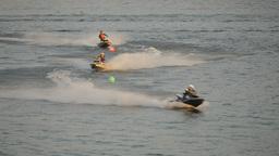 SLOWMOTION 3 Jet Ski racers on river track,Ubon Ratchathani,Thailand Footage
