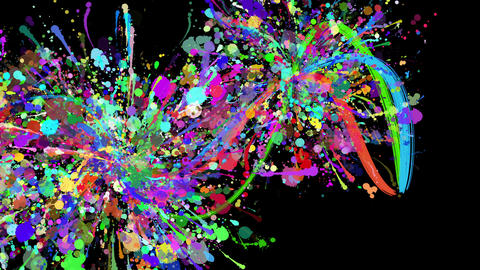 color paint strokes black background CG動画