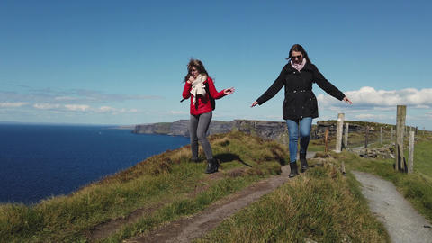 Walk along the Cliffs of Moher in Ireland Live Action