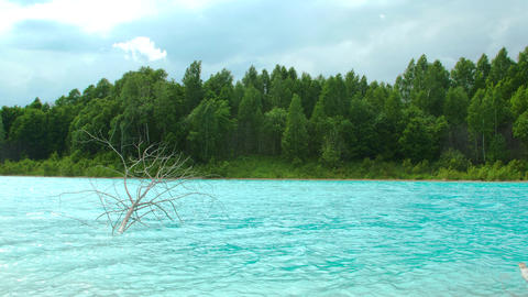 Turquoise lake on the ash dump 20 of 25 Footage