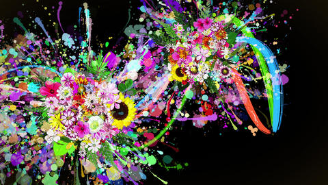 flowers and color paint strokes black background Animation