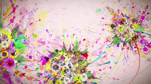 flowers and color paint strokes pink paper texture background Animation