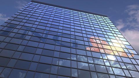 Logo of ING on a media facade with reflecting cloudy sky, editorial animation Live Action