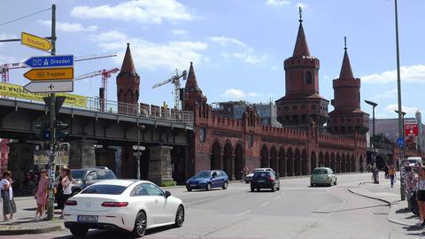 Oberbaum Bridge, Oberbaumbrucke, River Spree. Berlin. Germany. 4K Footage