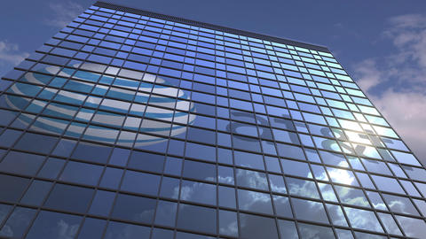 Logo of ATT on a media facade with reflecting cloudy sky, editorial animation Footage