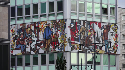 Color panels, mosaic in the center of Berlin. 4K Live Action