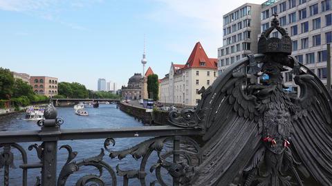 Eagle, Weidendammer Bridge On Spree River in Berlin. Germany. Germany. 4K Footage
