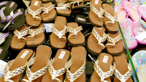 Multi-color leather slippers, Traditional colorful slippers for sale at Interior store. Dolly Live Action