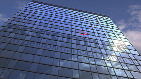 Logo of ACCENTURE on a media facade with reflecting cloudy sky, editorial Live Action