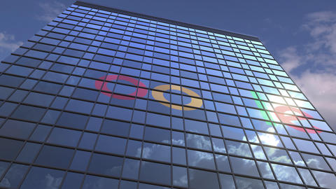 Logo of GOOGLE on a media facade with reflecting cloudy sky, editorial animation Live Action