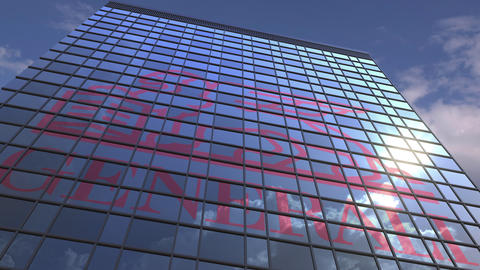 Logo of GENERALI on a media facade with reflecting cloudy sky, editorial Live Action