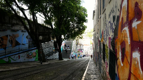 Gloria Funicular in the city center of Lisbon, National Monument in Portugal and Live Action