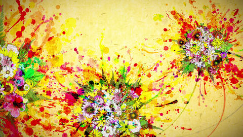 flowers and color paint strokes yellow paper texture background Animation