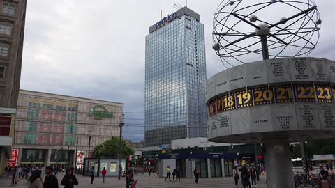 The World Clock At Alexanderplatz In Berlin. 4K Live Action