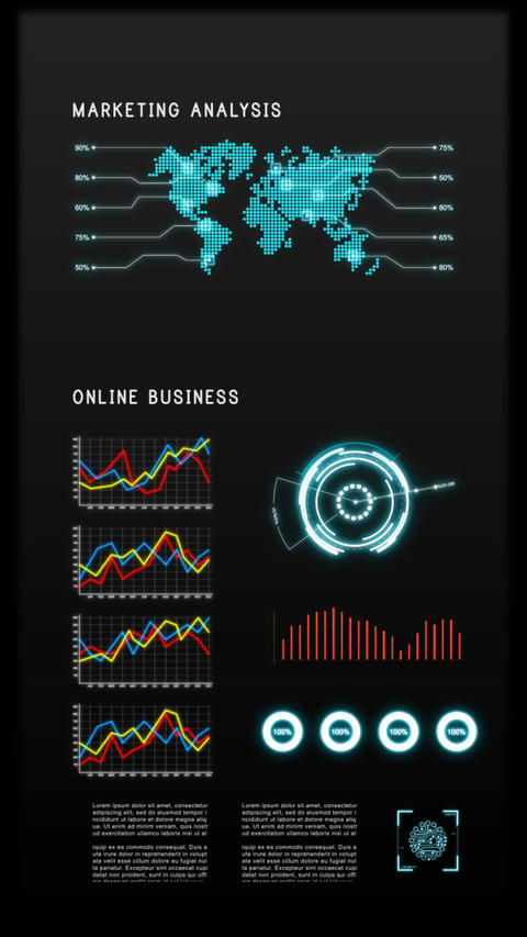 Vertical video for tablet and mobile device HUD and user interface with graph bar for business cyber Footage