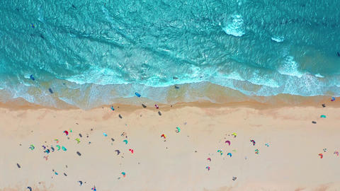 Aerial view. Tropical beach with turquoise ocean water and waves, aerial view Live Action