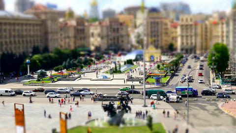 Transport Miniature On Independence Square in Kiev Footage