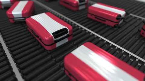 Many travel suitcases featuring flag of Austria. Austrian tourism conceptual Footage
