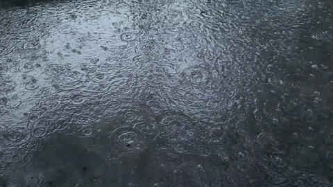 slow motion heavy rain water drops on surface Footage