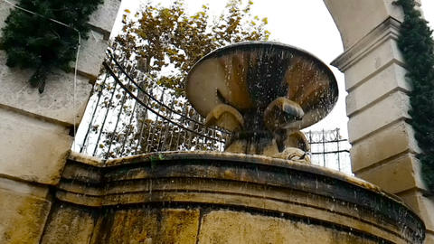 old fountain in Matera with the water falling down and the drops bounce, historical monument Footage