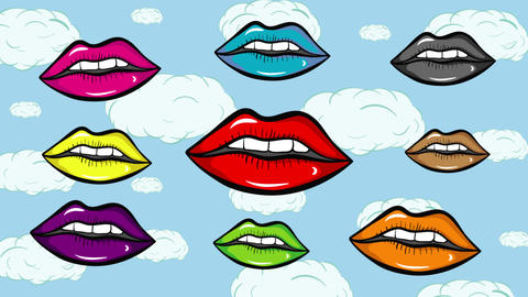 Colorful lips and blue sky Animation