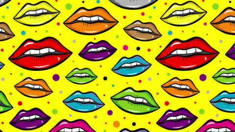 Colorful lips on yellow back Animation