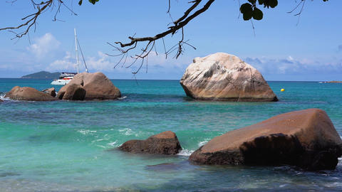 Seychelles. Praslin Island. Beautiful view of the stony coast of the island Footage
