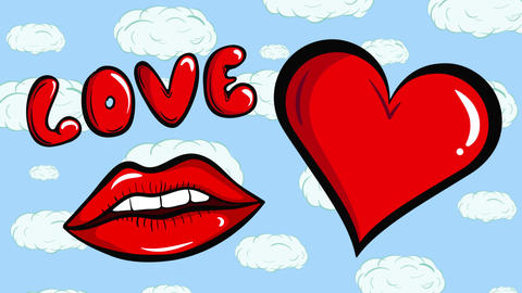 Lips and heart in sky Animation
