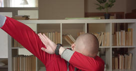 Closeup portrait of young attractive caucasian male student dabbing with Footage