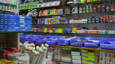 Back to school concept. Purchase of stationery in the store. notebook, dolly shot, fabric and Live Action