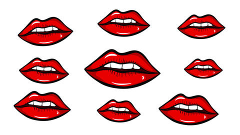 Red lips and white back Animation