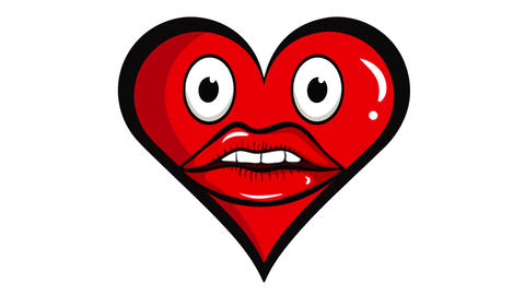 Heart with ugly red lips Animation