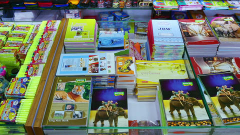 Back to school concept. Purchase of stationery in the store. notebook Live Action