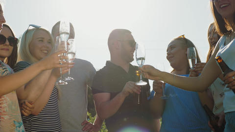 Friends clinking bottles and wine glasses Footage