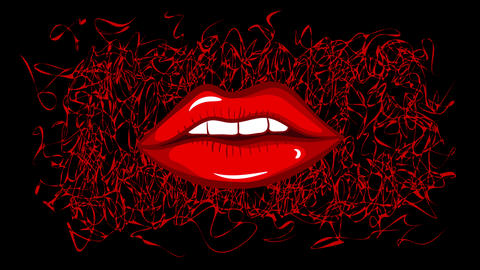 Lips, heart and love black Animation