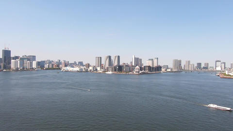 Tokyo, the capital of Japan. Sea and buildings Live Action