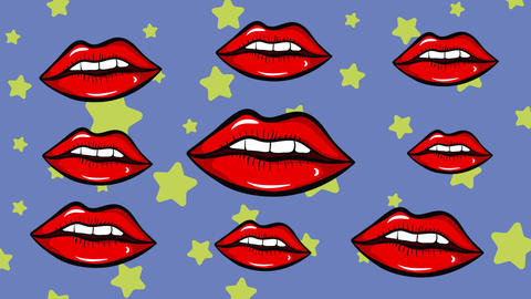 Red lips and stars sky Animation
