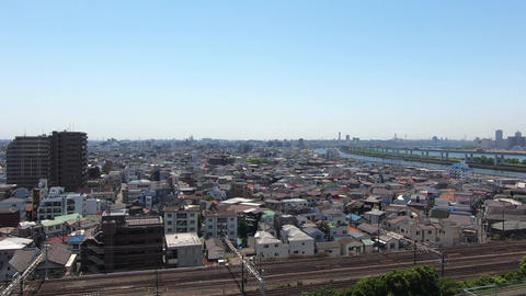Japanese cityscape overlooking the residential area of Tokyo Footage