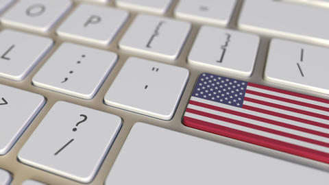 Key with flag of the USA on the keyboard switches to key with flag of China Footage
