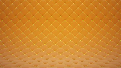 3D motion animation of orange quilted velvet surface with yellow leather straps. Realistic animation Animation